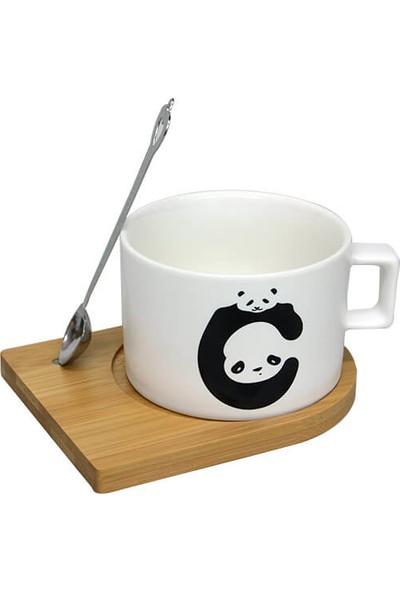 Çılgın Bambu Tabaklı ve Kupa Panda Mıknatıslı Kaşıklı