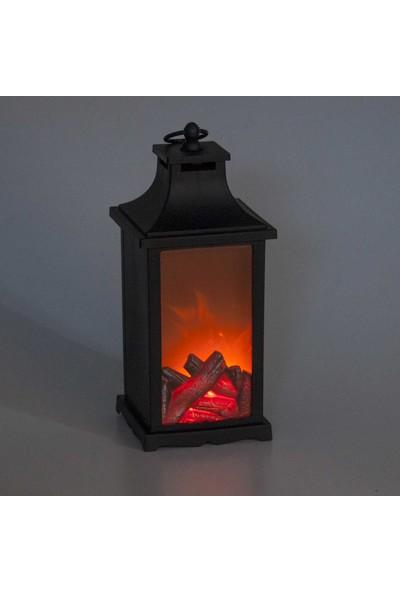 Dekoratif Fener LED Işıklı Pilli 14x14x30 cm