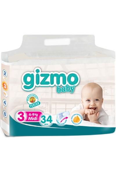 Gizmo Bebek Bezi Paketi 4 - 9 kg 3 Numara 34'lü