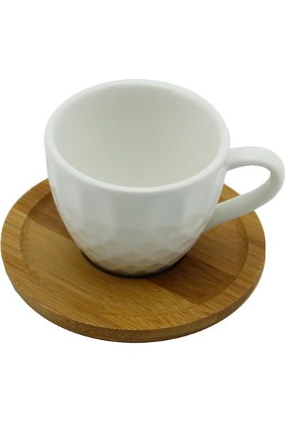 Çılgın Bambu Tabaklı 6 Lı Kahve Fincan Takımı