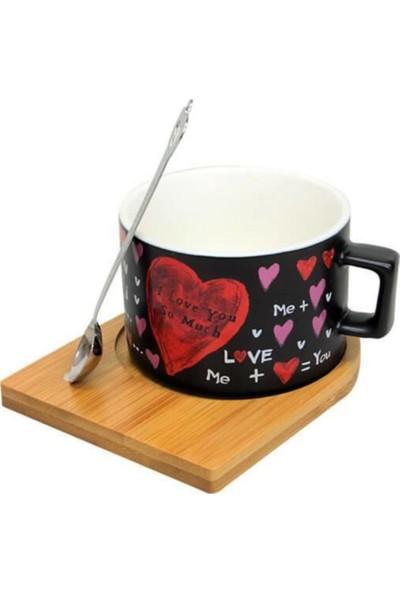 Çılgın Bambu Tabaklı ve Kaşıklı Aşkın Formülü Kupa
