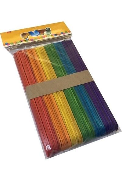 Puti Renkli Geniş Dil Çubuğu 4 Paket 200'lü
