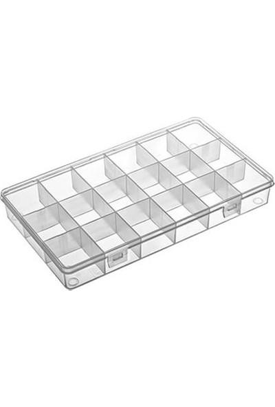 Hipaş Plastik - 18 Bölmeli Kapaklı Organizer Kutu 606 - 5 Adet