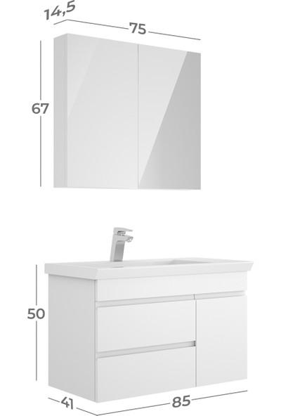 Belinza Orion Banyo Dolap Takımı Beyaz 85 cm