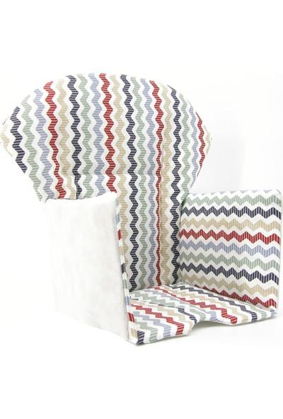 Nuvokido Mama Sandalyesi Minderi Renkli Zigzag
