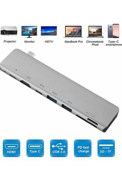 Orite Multifunction-03 Macbook Uyumlu 7ın1 Type-C To 4K HDMI Tv Ultra Hd 2type-C+2usb+Sd/tf Kart Okuyucu Adaptör