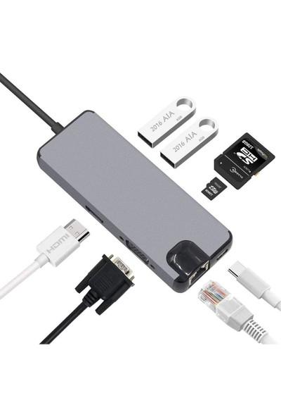 Orite Multifunction Macbook Uyumlu Type-C To HDMI + RJ45 + Type-C + Sd Kart + USB 3.0 x 2 + VGA 8 In 1 Çevirici Adaptör