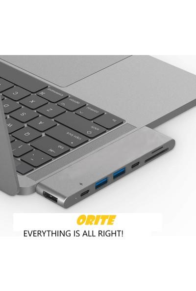 Orite MULTIFUNCTION-0003 Macbook Uyumlu 7 In 2 Type C To 4K HDMI Tv Ultra Hd 2type-C+2usb+Sd/tf Card Reader Adaptör