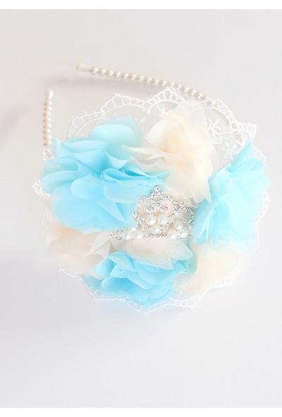 Minilola Mavi Krem Çiçekli Dantelli Inci Prenses Taşlı Terlik Taç Seti
