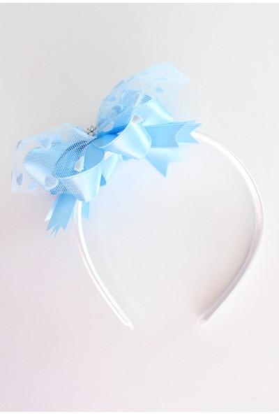 Minilola Mavi Fiyonk Süslemeli Kalp Tüllü Terlik Taç Seti