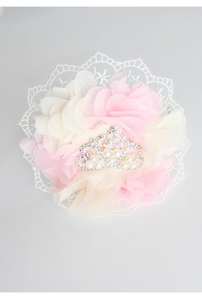 Minilola Pembe Krem Çiçekli Dantelli Inci Prenses Taşlı Terlik Taç Seti