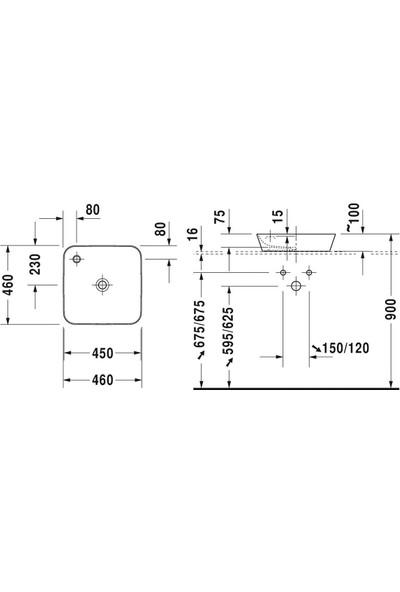 Duravit Cape Cod Duraceram Batarya Banklı Çanak Lavabo 46 x 46 cm
