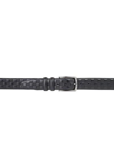 Deriza Tera Siyah Klasik Erkek Deri Kemer 110 cm