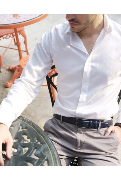 Deriza Milano Erkek Deri Kemer Lacivert 110 cm