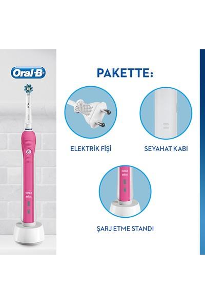 Oral-B Pro 2500 Şarj Edilebilir Diş Fırçası Cross Action Pembe + Seyahat Kabı