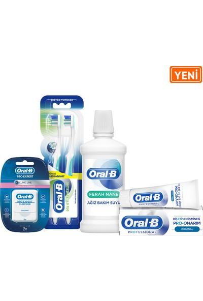 Oral-B 75 mlDiş Macunu Pro Onarım Original+ 2li Diş Eti Temizliği Fırça + 25m Diş İpi + 500 ml Ferah Nane AğızÇalkalamaSuyu
