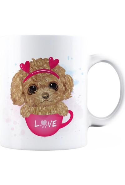 BaskimBurada Beyaz Kupa Kişiye Özel Cute Poodle BBKB00019