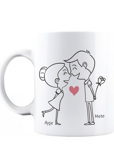 BaskimBurada Beyaz Kupa Kişiye Özel Couple Love BBKB00020