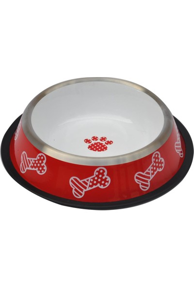 Zampa Kaymaz Tabanlı Kedi ve Köpek Kırmızı Beyaz Desenli Mama Su Kabı 8 OZ