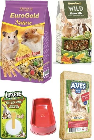 Eurogold Hamster Yem Talaş Yem Katkısı Yalama Taşı Seti 500 gr