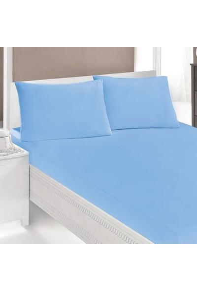 Ezgi Pamuk Lastikli Havlu Çarşaf + Yastık Kılıfı Battal Boy Mavi
