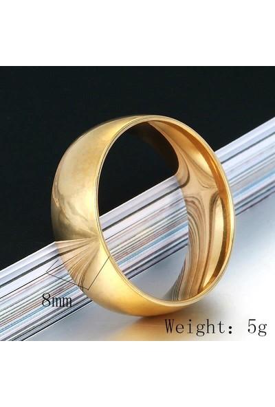 Takı Dükkanı 8 mm Geniş Bombeli Çelik Alyans Çifti Söz Yüzüğü Altın Sarı cl13