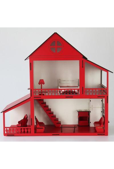 Hayal Oyuncak Ahşap Rüya Portatif Barbie Bebek Oyun Evi Seti 45 cm