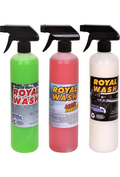 Royalwash Lastik Parlatıcı + Genel Temizlik + Torpido Parlatıcı 3'lü Set