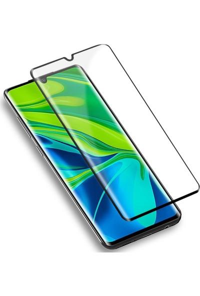KNY Xiaomi Mi Note 10 Kılıf Full Yapışan 3D Cam Ekran Koruyucu Kısa SiyahSiyah
