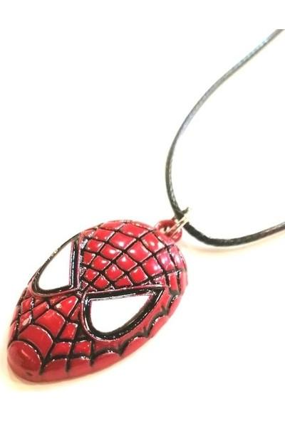 AlpCollection Spiderman Örümcek Adam Avengers Suni Deri İpli Metal Kolye