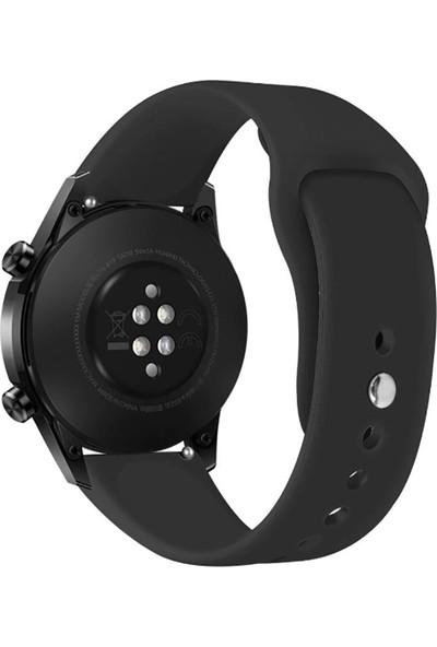 KNY Huawei Watch GT 2 46 mm Klasik Renkli Silikon Kordon Siyah