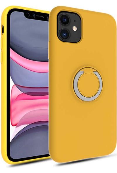 Fujimax Apple iPhone 11 Yüzüklü Standlı Mat Silikon Plex Kapak Kılıf Sarı