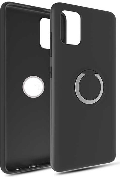 Fujimax Samsung Galaxy A81 Note 10 Lite Yüzüklü Standlı Mat Silikon Plex Kapak Kılıf Siyah