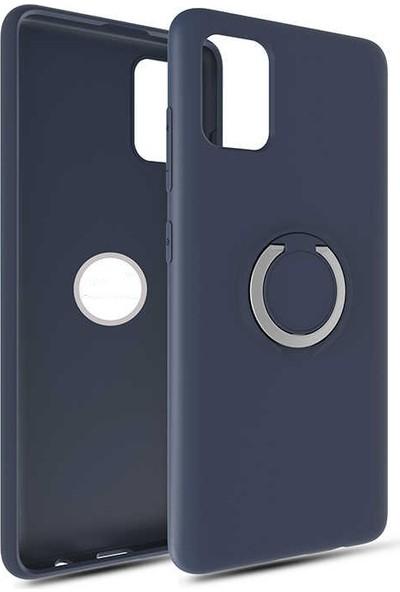 Fujimax Samsung Galaxy A81 Note 10 Lite Yüzüklü Standlı Mat Silikon Plex Kapak Kılıf Lacivert