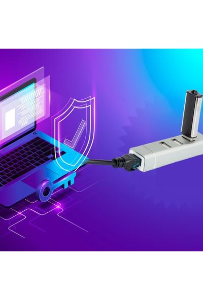 Bix BX03Hb USB to 3*USB 2.0 1* Gigabit Ethernet 100Mbps Ağ Konnektörü Macbook Uyumlu Hızlı Lan Aktarım Adaptörü
