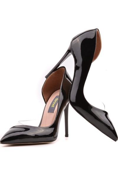 Derinet Klasik Siyah Rugan Dekolteli Kadın Stiletto