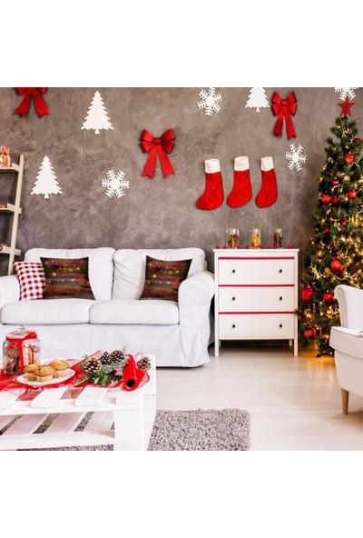Henge Ahşap Desenli Noel Yılbaşı Parti Temalı Kırmızı Yastık Kırlent Kılıfı