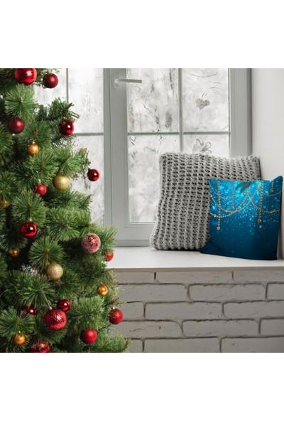 Henge Noel Altın İnci Süsleri İle Yılbaşı Temalı Mavi Laci Yastık Kırlent Kılıfı