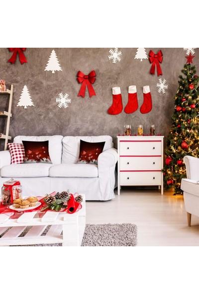 Henge Noel Yılbaşı İnciler Çiçek ile Kırmızı Kar Taneleri Yastık Kırlent Kılıfı