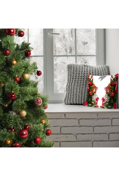 Henge Noel Yılbaşı Ağacı Çam Süsleri Yıldız Kırmızı Yeşil Yastık Kırlent Kılıfı
