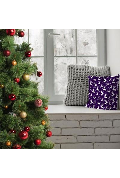 Henge Yeniyıl Noel Kar Beyaz Rengeyiği Temalı Mor Renkli Yastık Kırlent Kılıfı