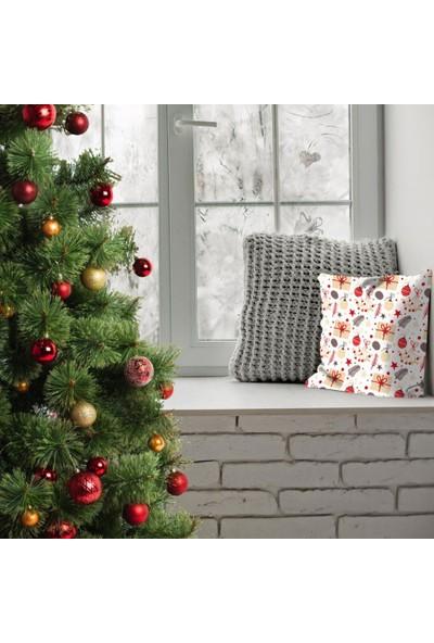 Henge Noel Kamel Kırmızı Renkli Hediye ile Süsler Yıldızlar Yastık Kırlent Kılıfı
