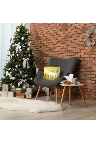 Henge Sarı Gece Ağaçlar Üzerinde Uçan Kızaklı Noel Baba Yastık Kırlent Kılıfı