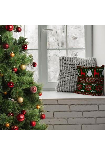 Henge Yılbaşı Noel Büyük Örgülü Yeşil Üzerine Kırmızı Beyaz Yastık Kırlent Kılıfı