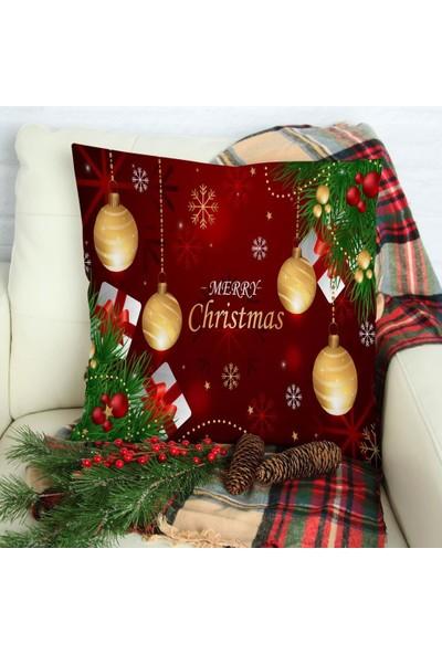 Henge Yılbaşı Süsleri Noel Hediyeleri Dallar İle Kırmızı Altın Yastık Kırlent Kılıfı