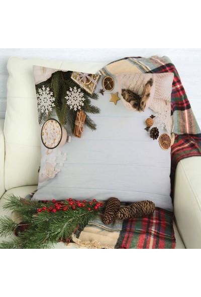 Henge Mavi Ahşap Noel Yılbaşı Örgü Süsler Tarçınlı Hediye Yastık Kırlent Kılıfı