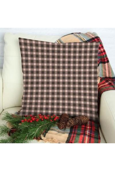 Henge Bej Siyah Kırmızı Beyaz Tartan İskoç Ekose Desenli Yastık Kırlent Kılıfı