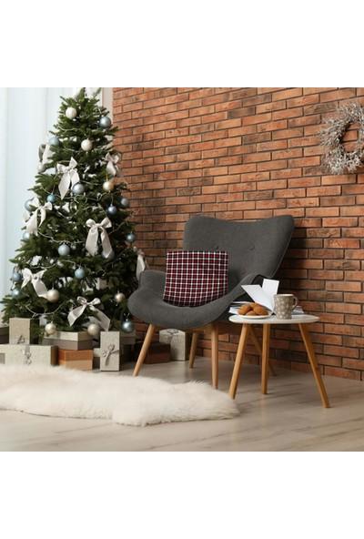 Henge Noel Siyah Beyaz Kırmızı Kare Tartan Ekose Desenli Yastık Kırlent Kılıfı