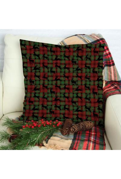 Henge Noel Yılbaşı Kırmızı Yeşil Ekose Desenli Geyikli Yastık Kırlent Kılıfı