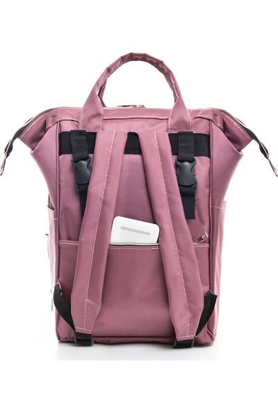Bebex Bag-ZS Pullu Organizatör Anne Bebek Bakım Sırt Çantası Ligth Pink/Pembe